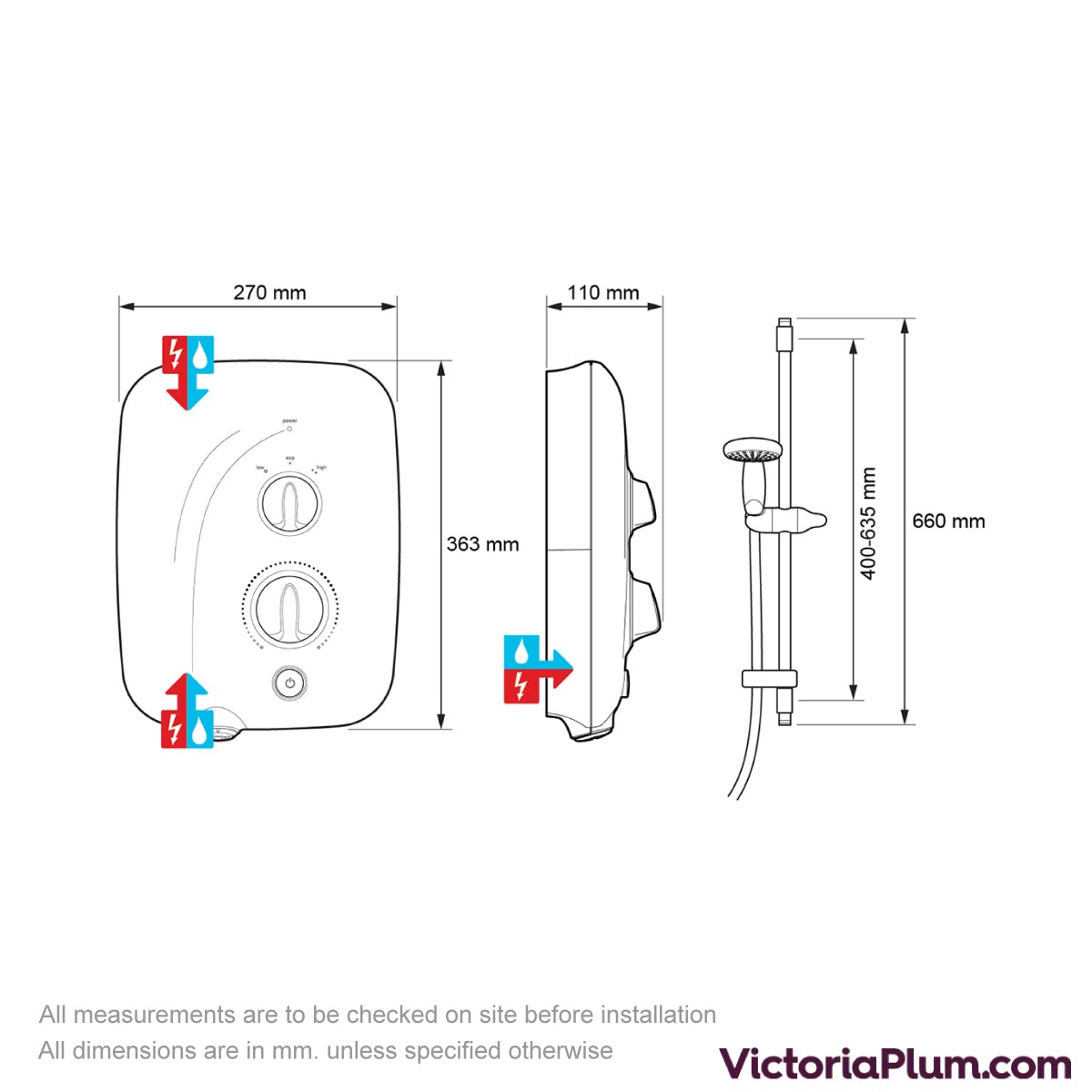 Dimensions for Mira Elite QT 9.8kw pumped electric shower