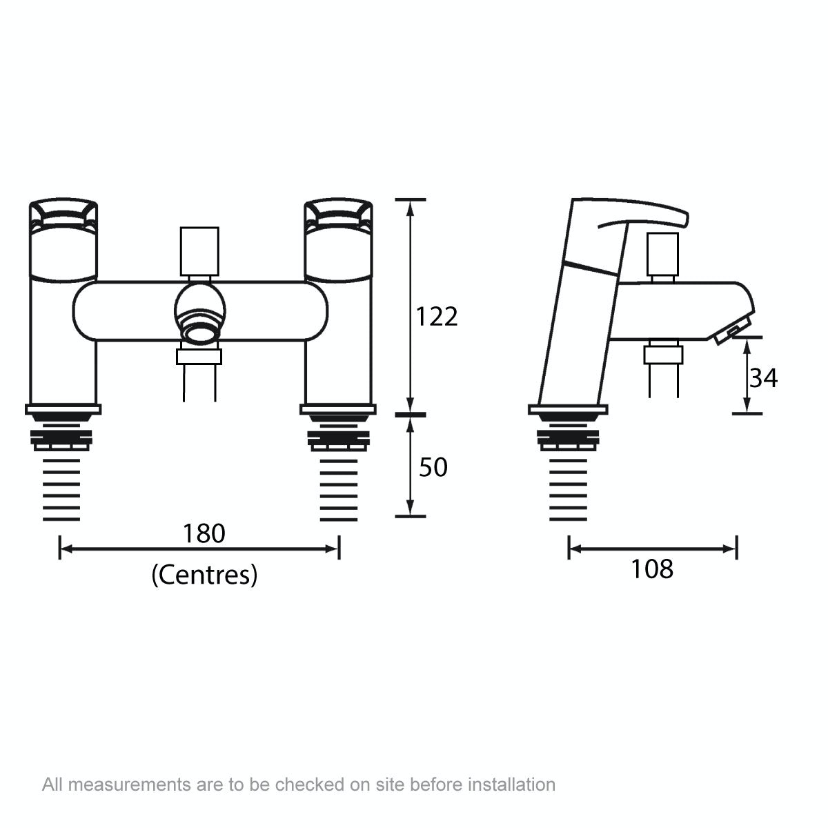 Dimensions for Bristan Orta bath shower mixer tap