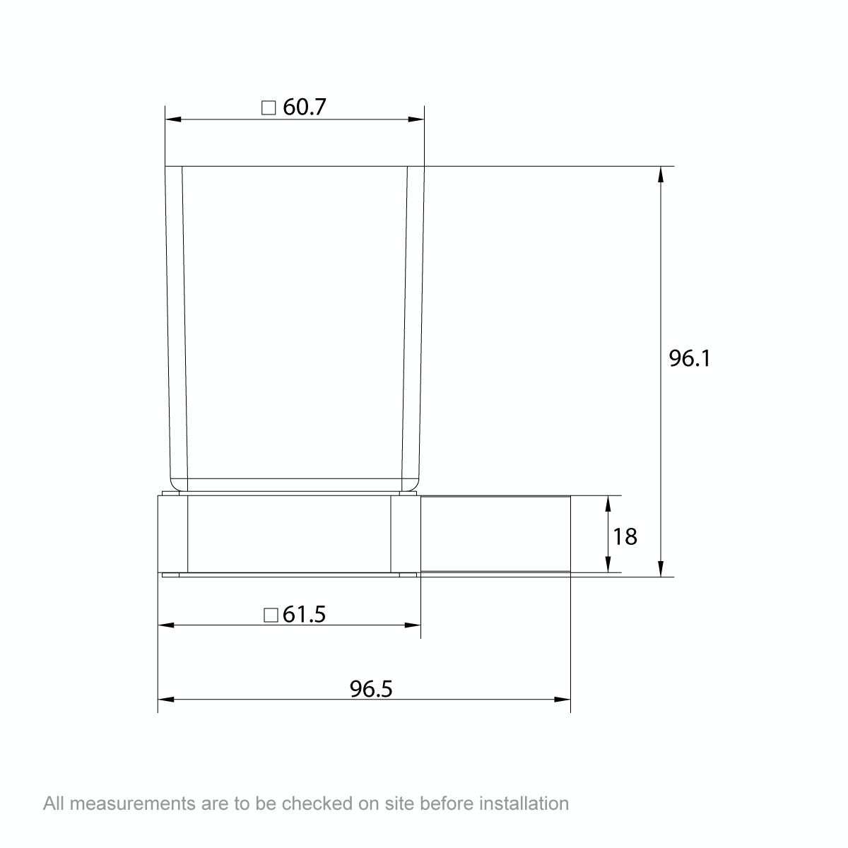 Dimensions for Mode Spencer brushed nickel tumbler and holder