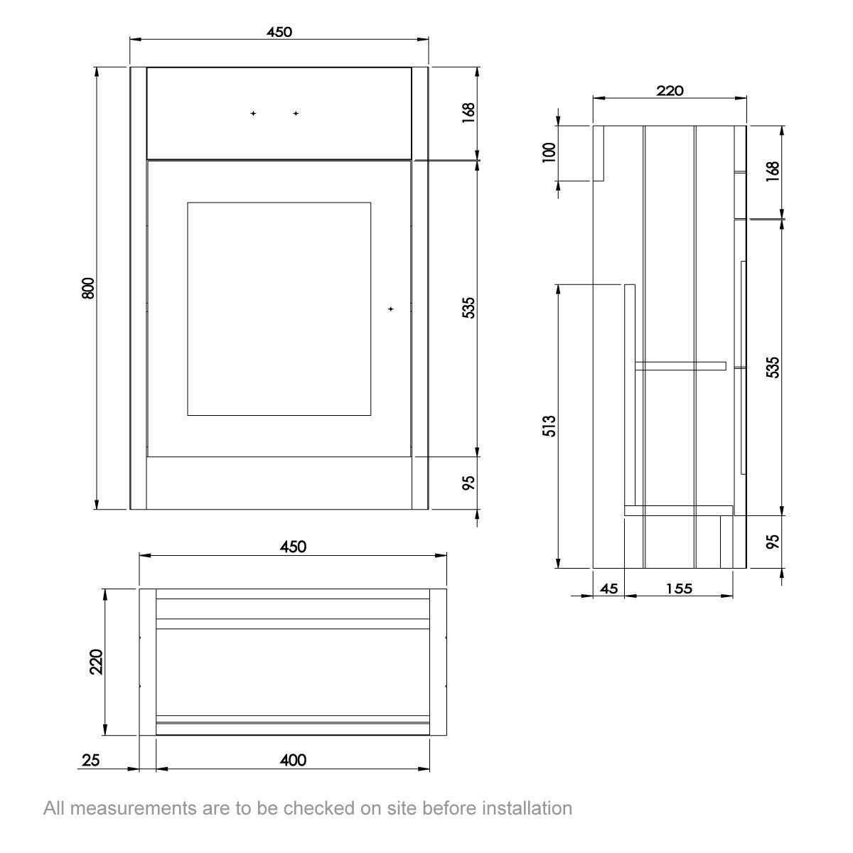 Dimensions for The Bath Co. Dulwich stone grey cloakroom vanity with basin 450mm