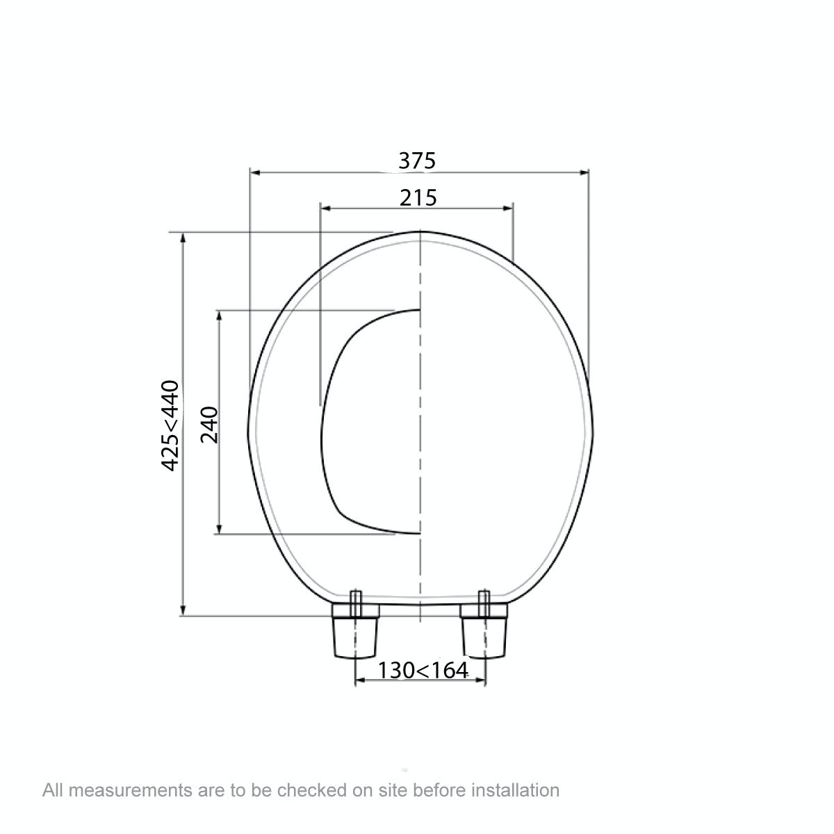 Dimensions for Celmac Wirquin Clarity wooden toilet seat