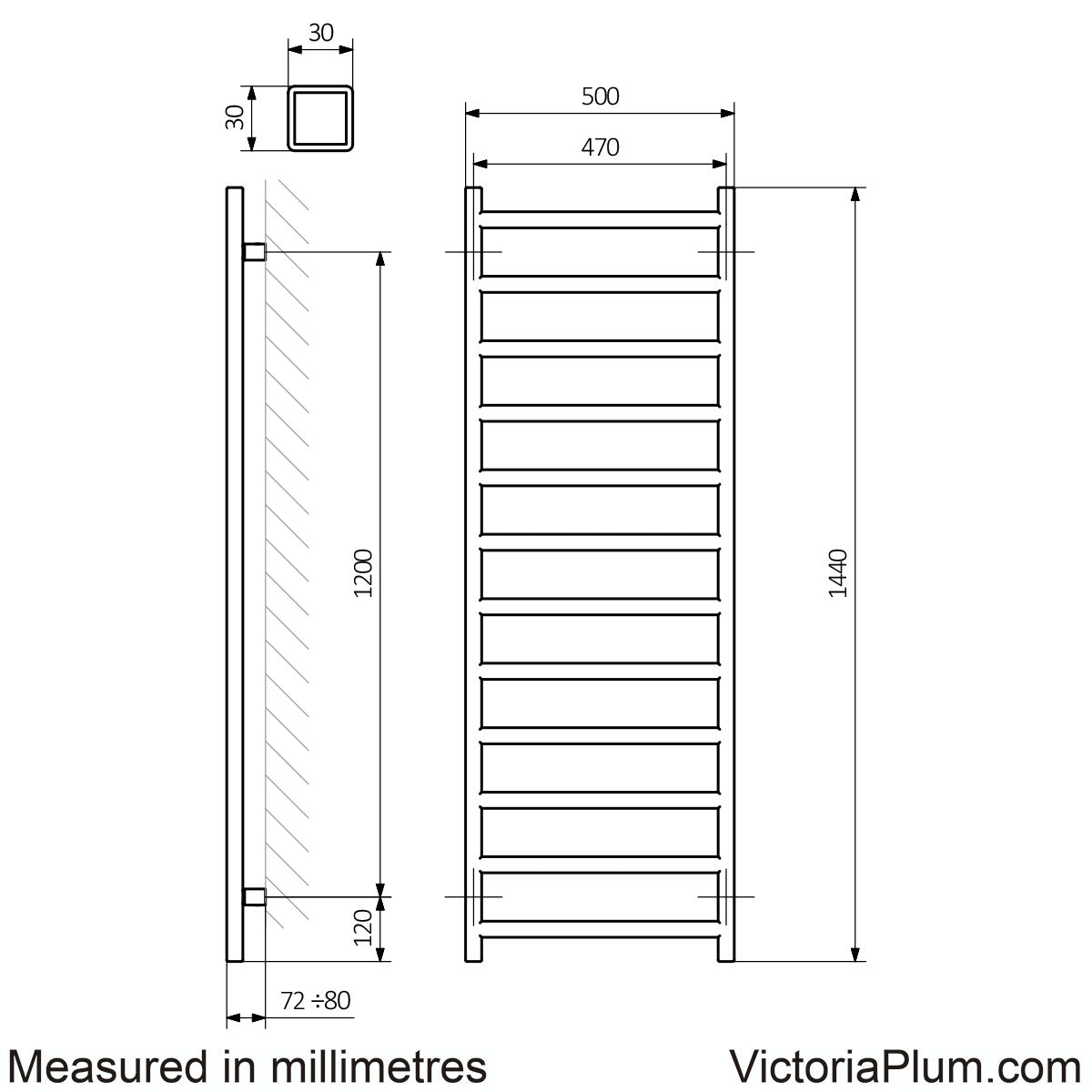 Dimensions for Terma Simple meteor black heated towel rail 1440 x 500
