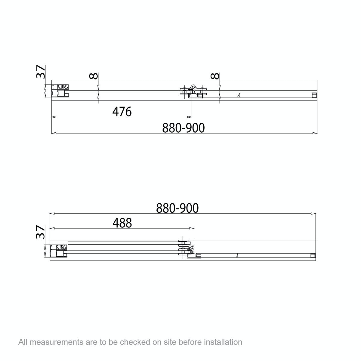 Dimensions for 8mm square double panel hinged bath screen