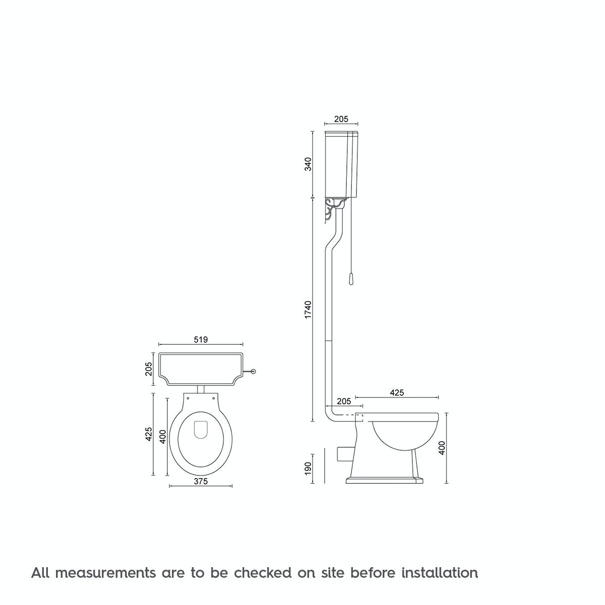 Dimensions for The Bath Co. Camberley high level toilet with grey soft close seat