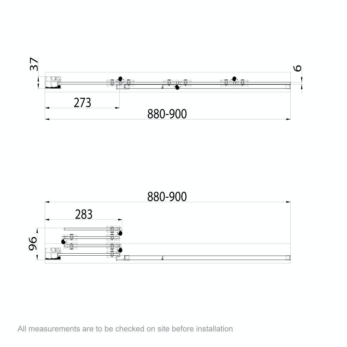 Dimensions for 6mm frameless left handed 4 screen folding hinged bath screen