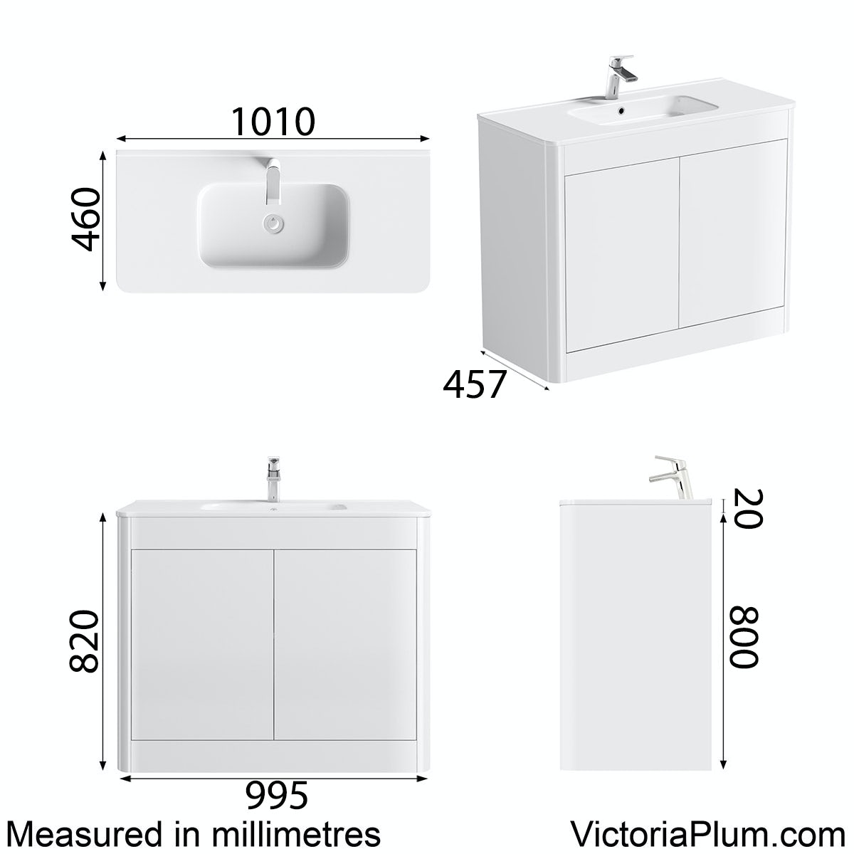 Dimensions for Mode Carter ice white floor mounted vanity unit and basin 1000mm