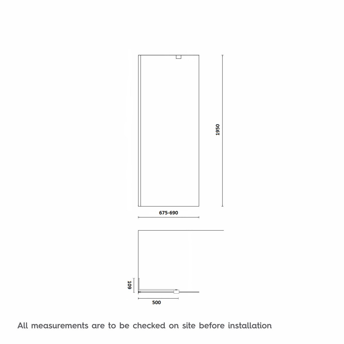 Dimensions for 700mm