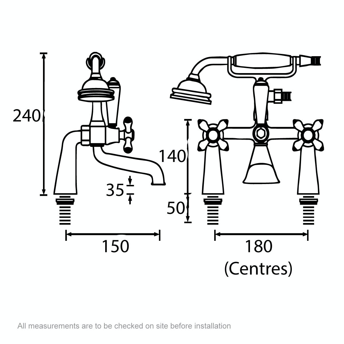 Dimensions for Bristan Colonial gold bath shower mixer tap