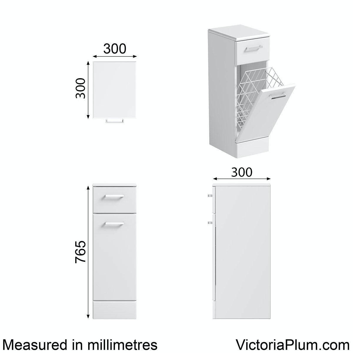 Dimensions for Orchard Eden white linen basket 300mm