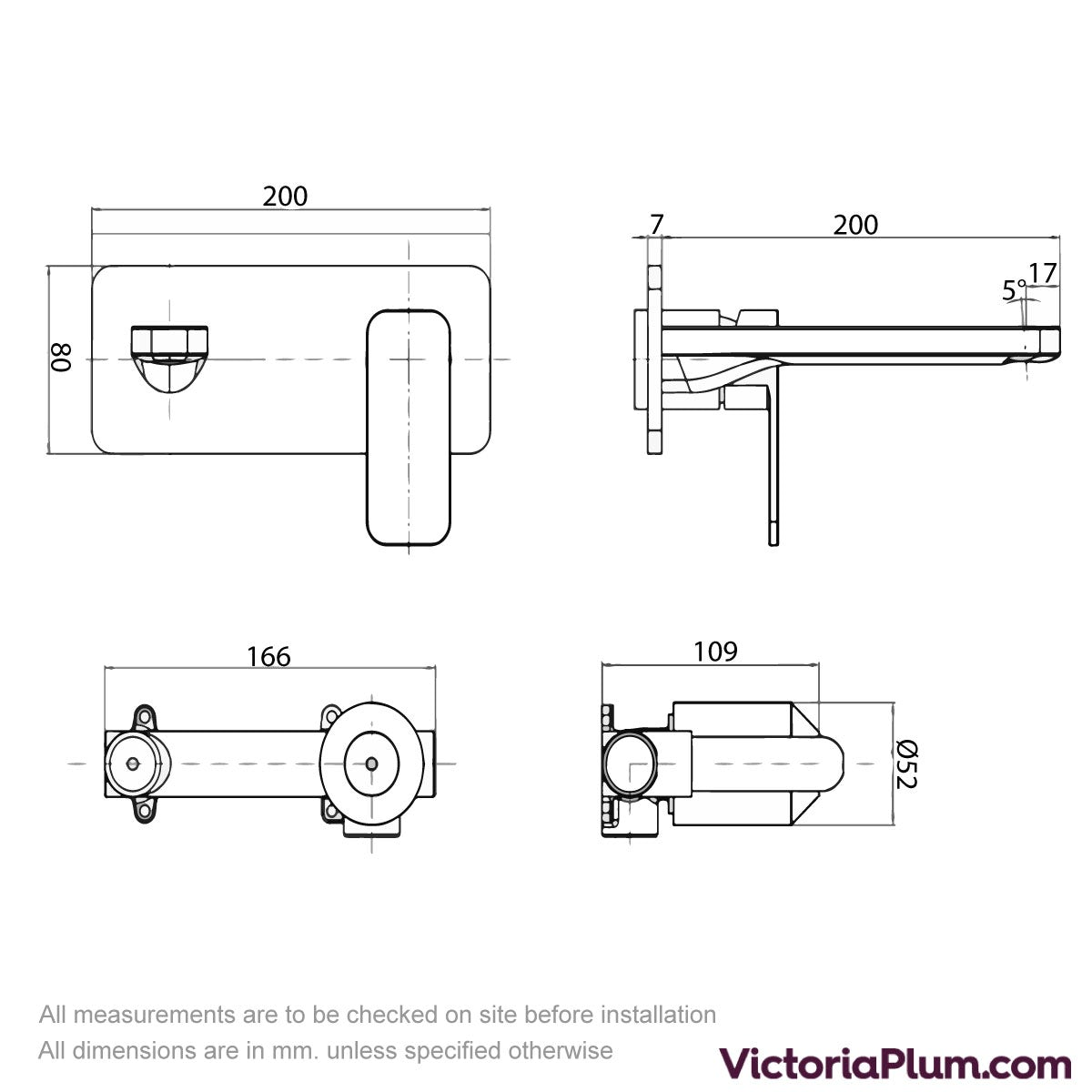 Dimensions for Mode Spencer square wall mounted basin mixer tap