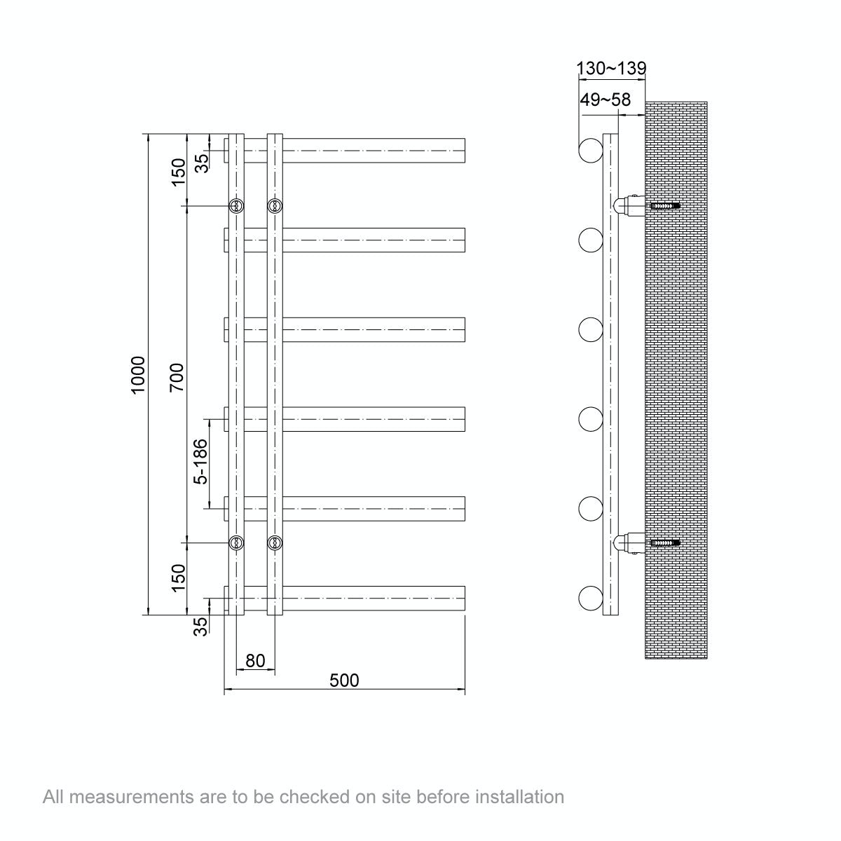 Dimensions for Mode Hardy heated towel rail 1000 x 500