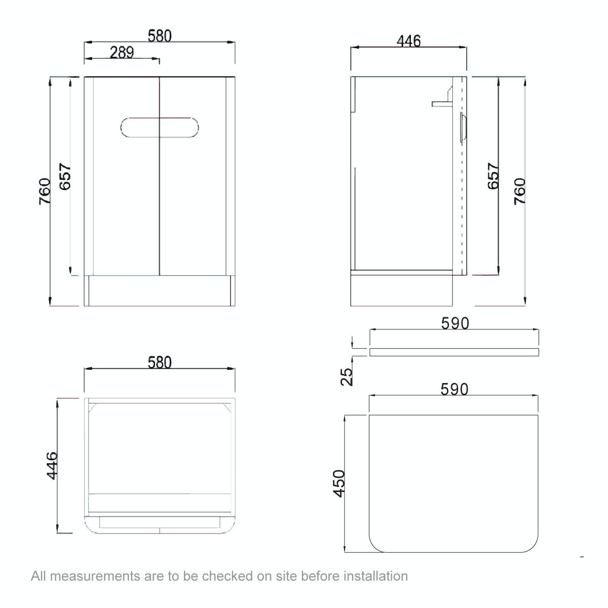 Dimensions for Mode Ellis white vanity door unit and countertop 600mm