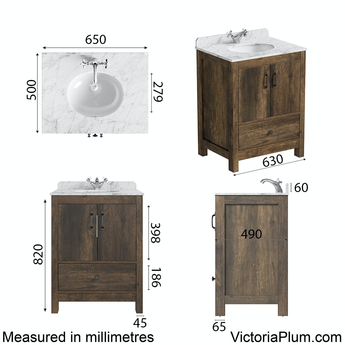 Dimensions for The Bath Co. Dalston vanity unit and white marble basin 650mm