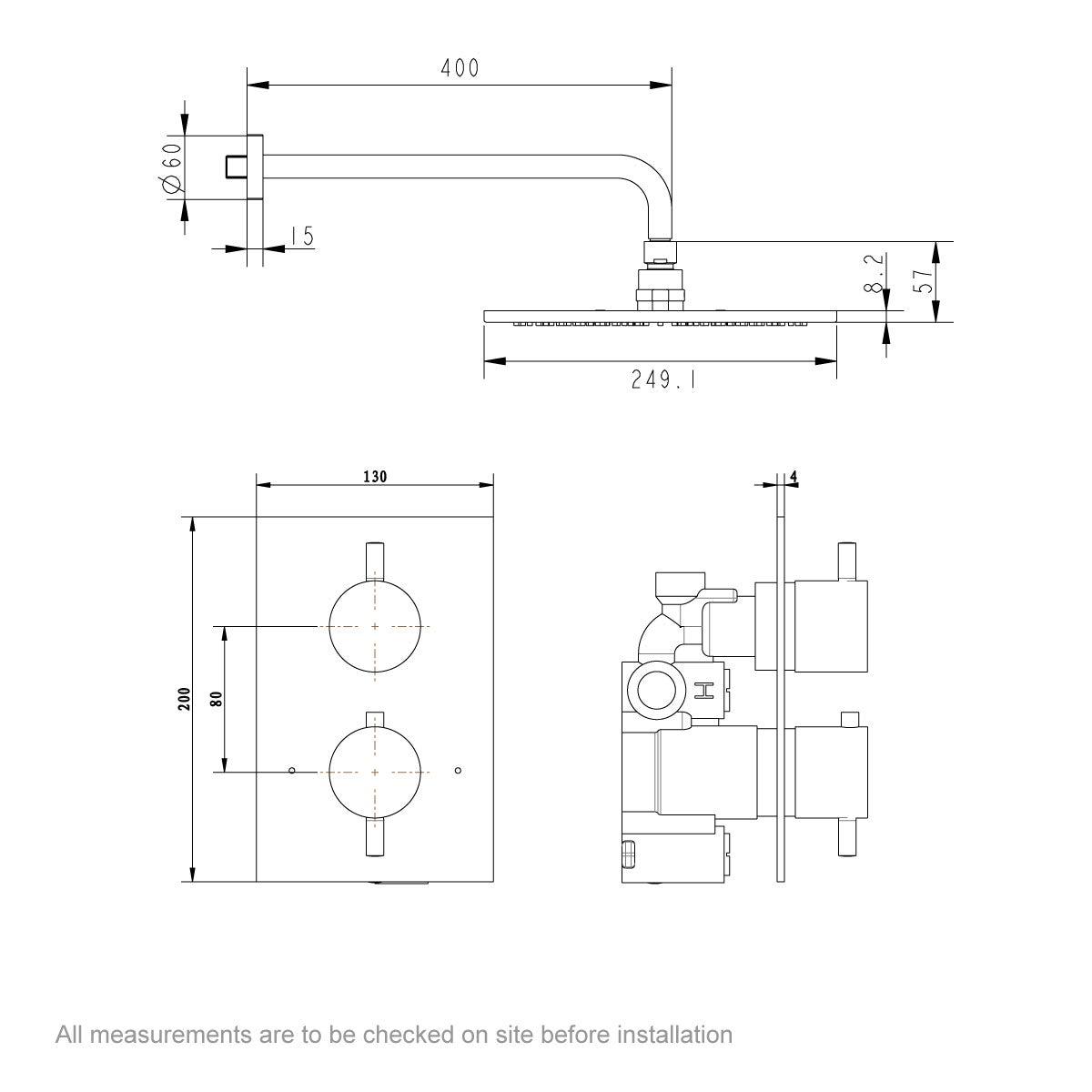 Dimensions for Mode Spencer round thermostatic twin valve matt black shower set