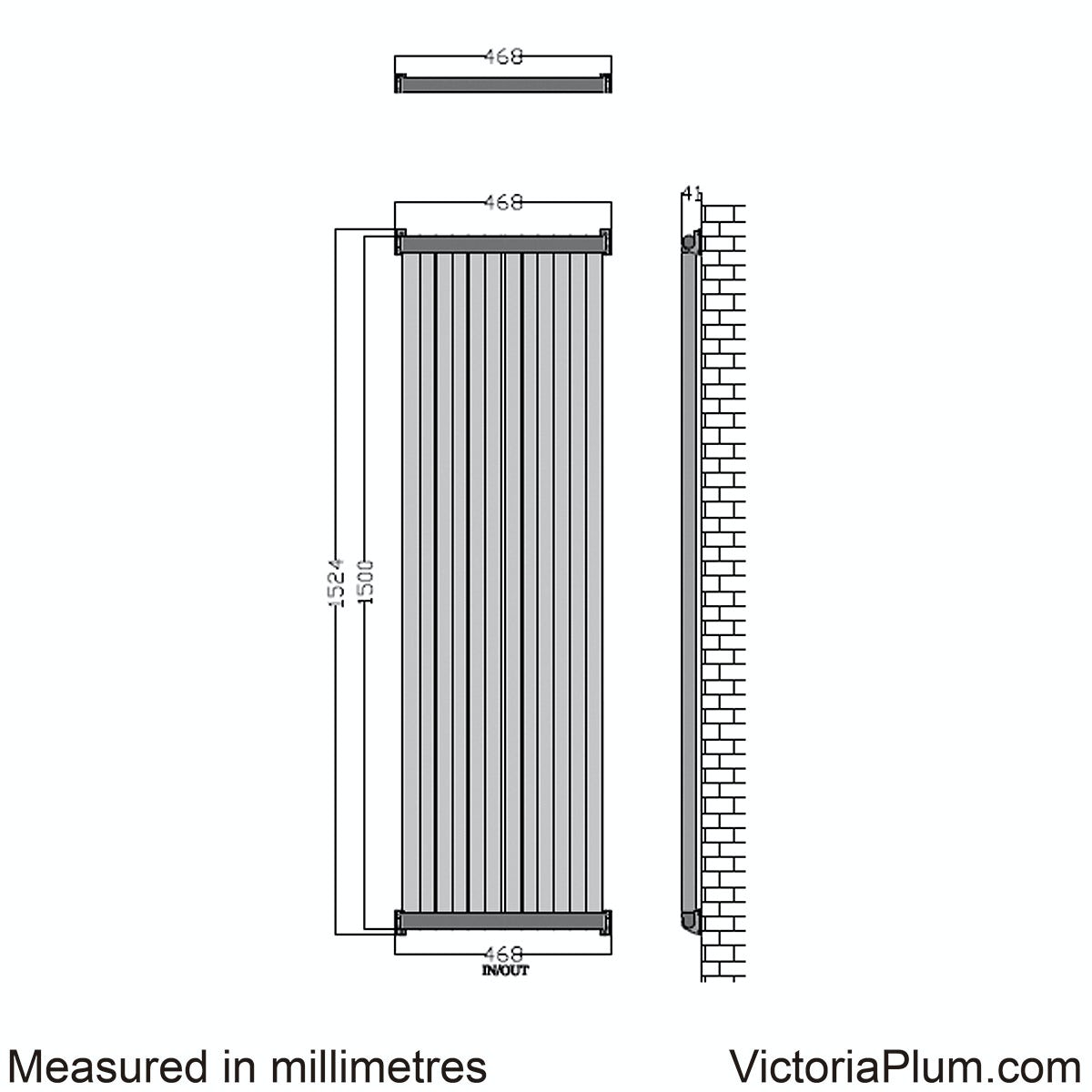 Dimensions for Mode Zephyra vertical radiator 1800 x 468