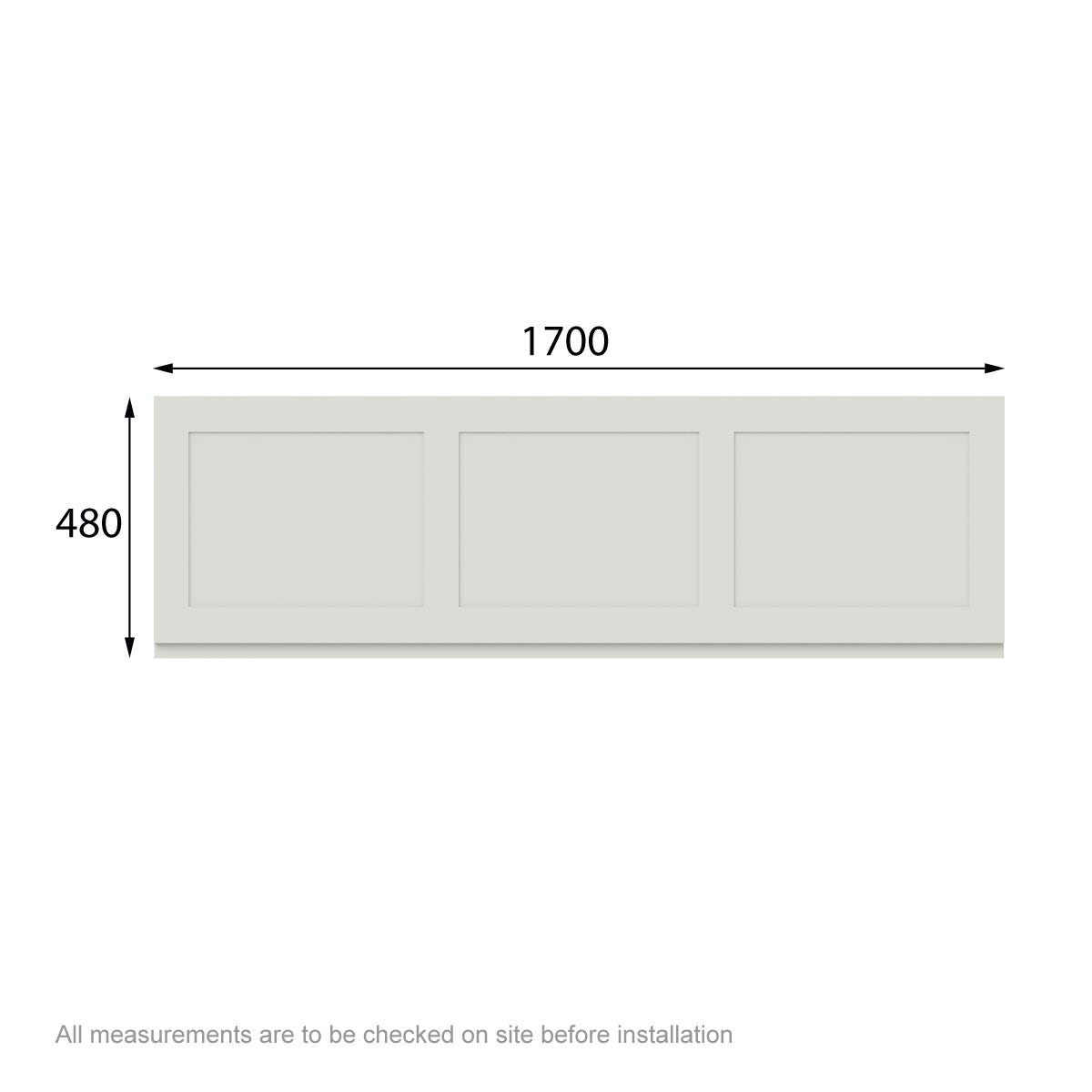 Dimensions for The Bath Co. Camberley ivory bath front panel 1700mm