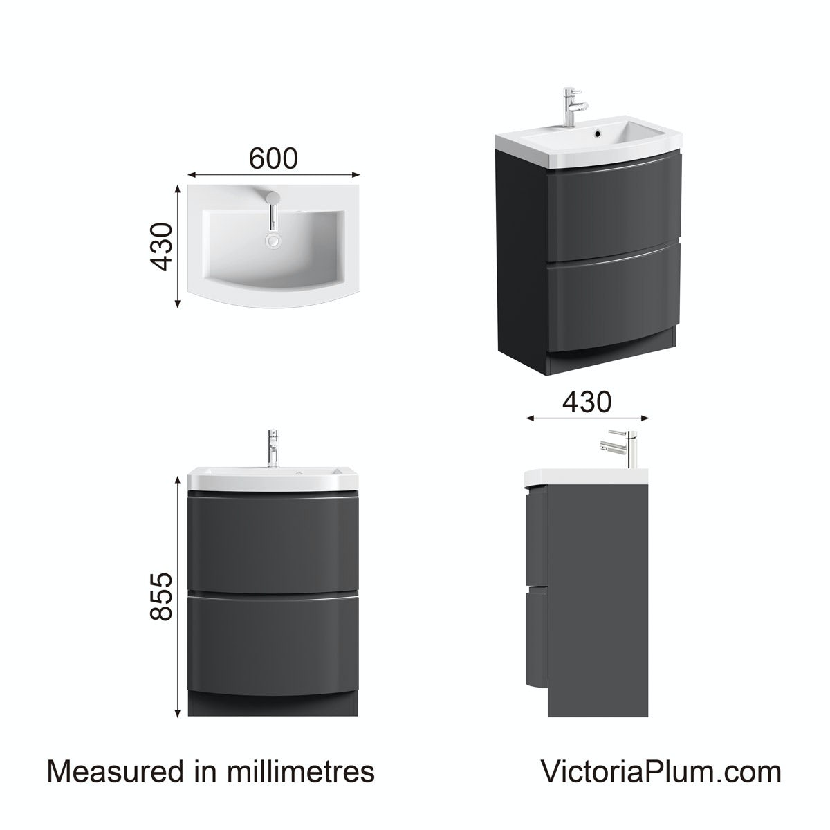 Dimensions for Mode Harrison slate vanity unit and basin 600mm