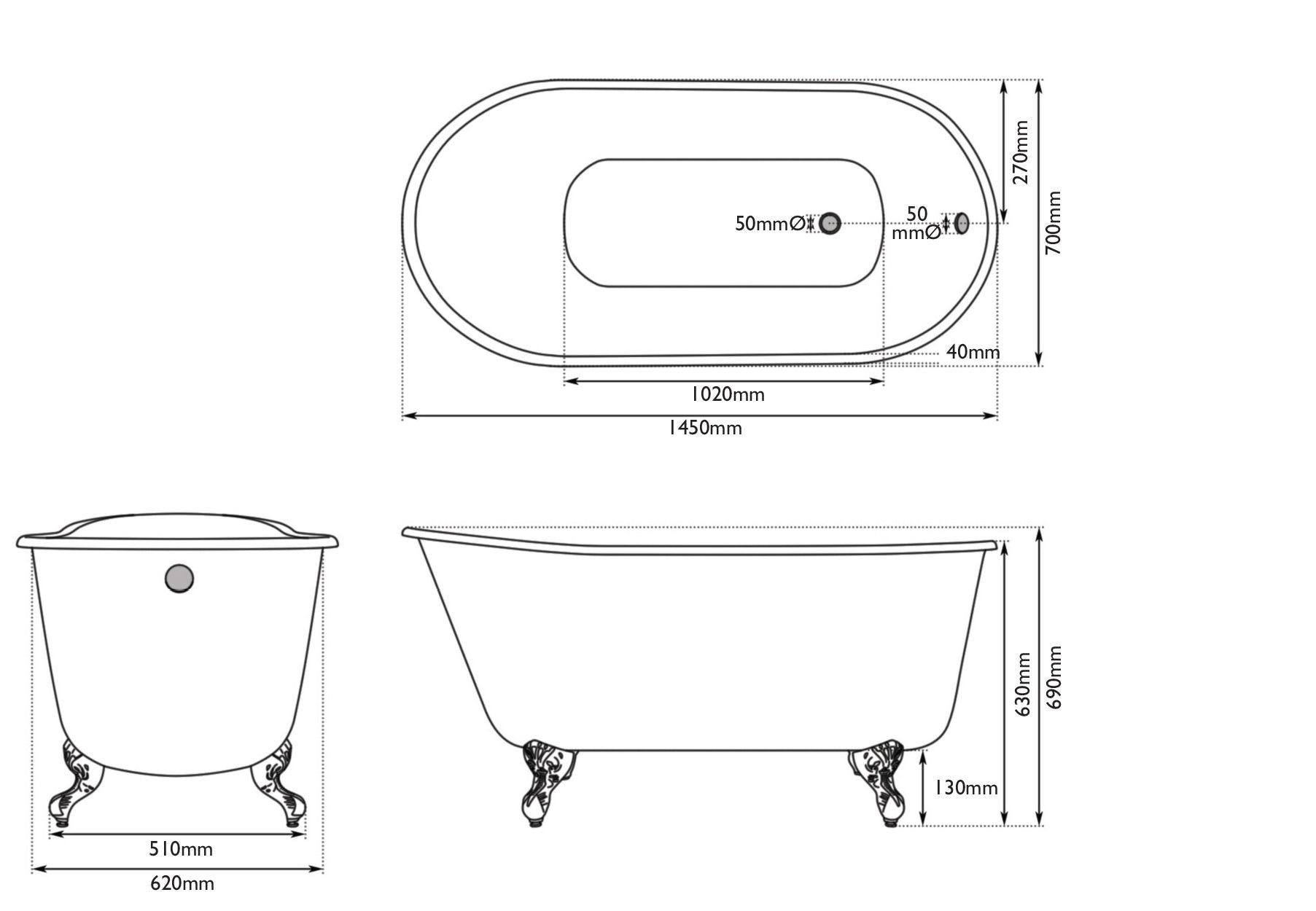 Dimensions for The Bath Co. Warwick keystone grey cast iron bath