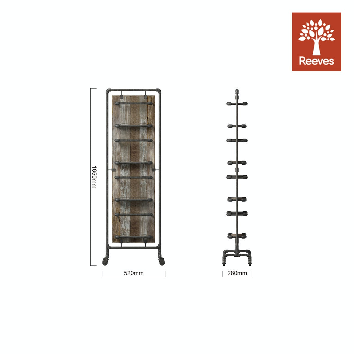 Dimensions for Reeves Sawyer tall storage rack