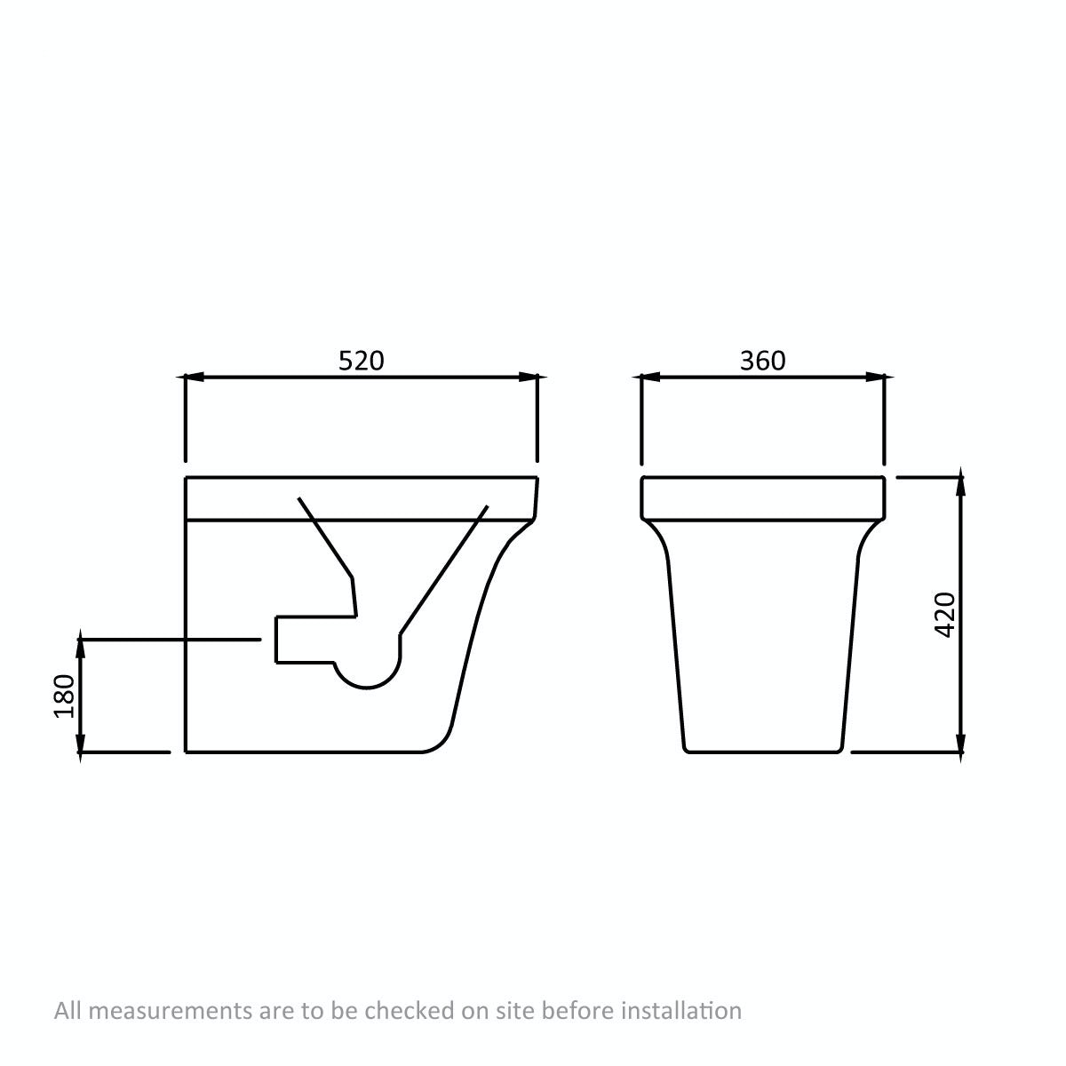 Dimensions for Mode Carter back to wall toilet with soft close seat