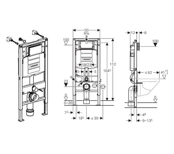 Dimensions for Geberit Duofix WC frame 1.12m with Sigma UP320 cistern