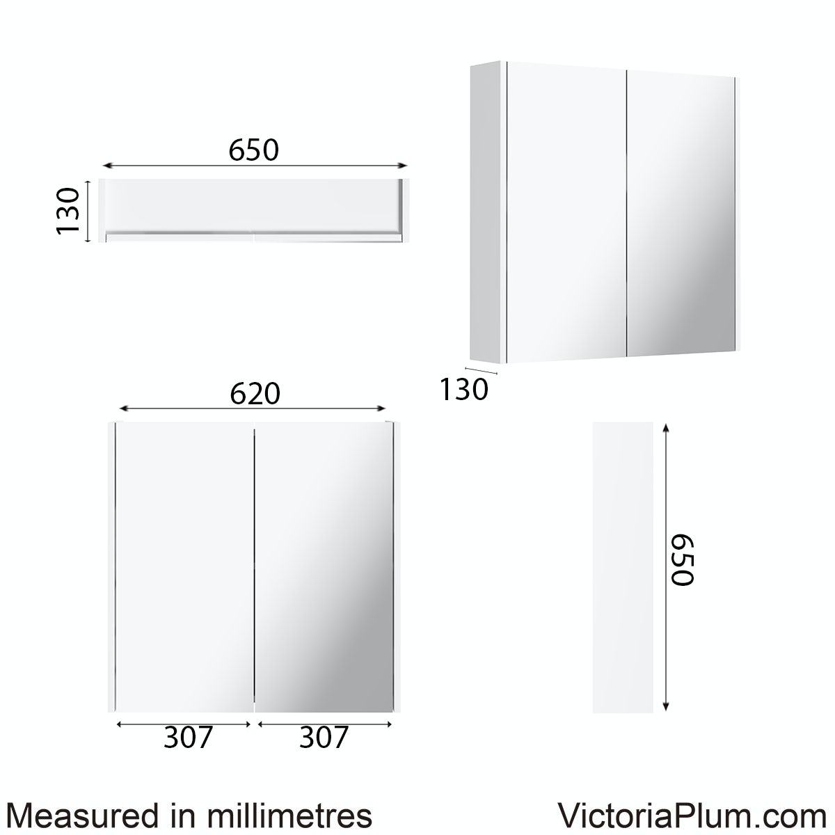 Dimensions for Mode Cooper white mirror cabinet 600mm