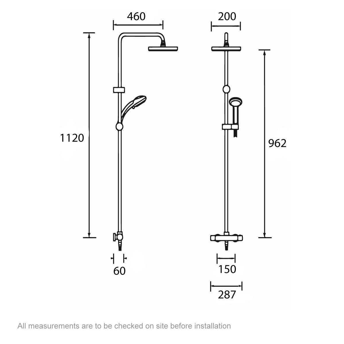 Dimensions for Bristan Carre thermostatic bar valve shower system