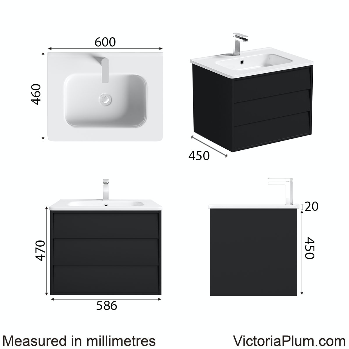 Dimensions for Mode Cooper anthracite vanity unit and basin 600mm