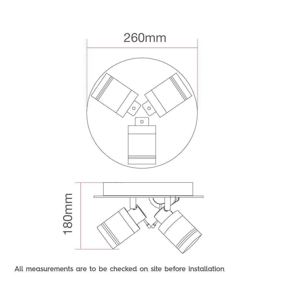 Dimensions for Forum Ligero 3 light bathroom spotlight