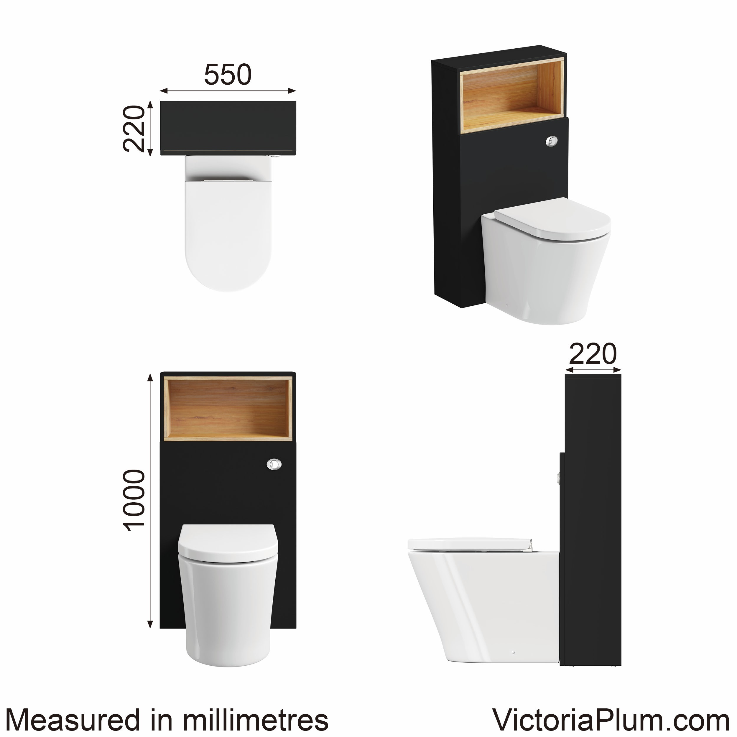 Dimensions for Mode Tate anthracite & oak back to wall toilet unit