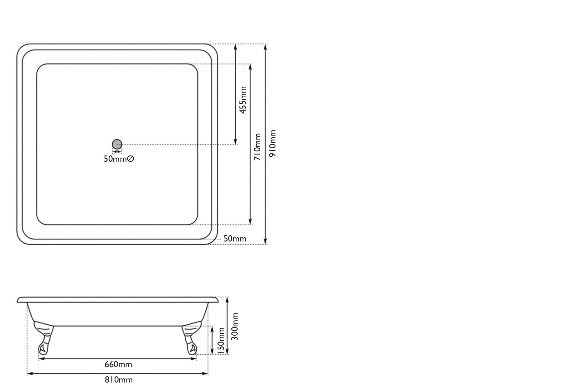 Dimensions for The Bath Co. Lewes pavilion grey cast iron shower tray
