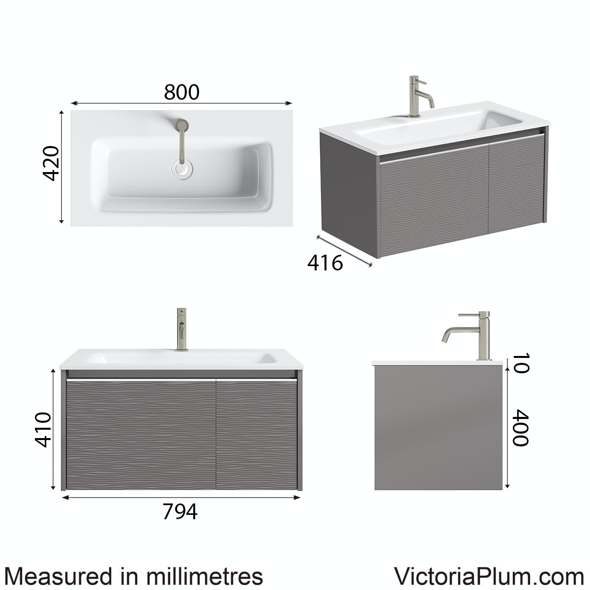 Dimensions for Mode Banks textured lava stone matt wall hung vanity unit 800mm