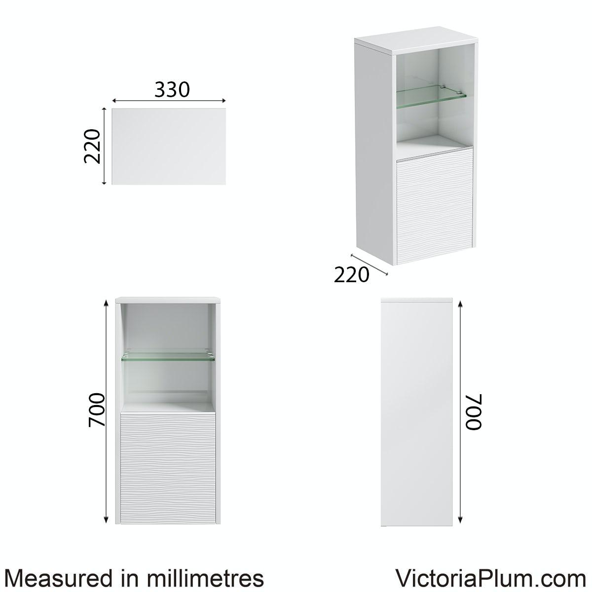Dimensions for Mode Banks matt white wall storage unit 330mm
