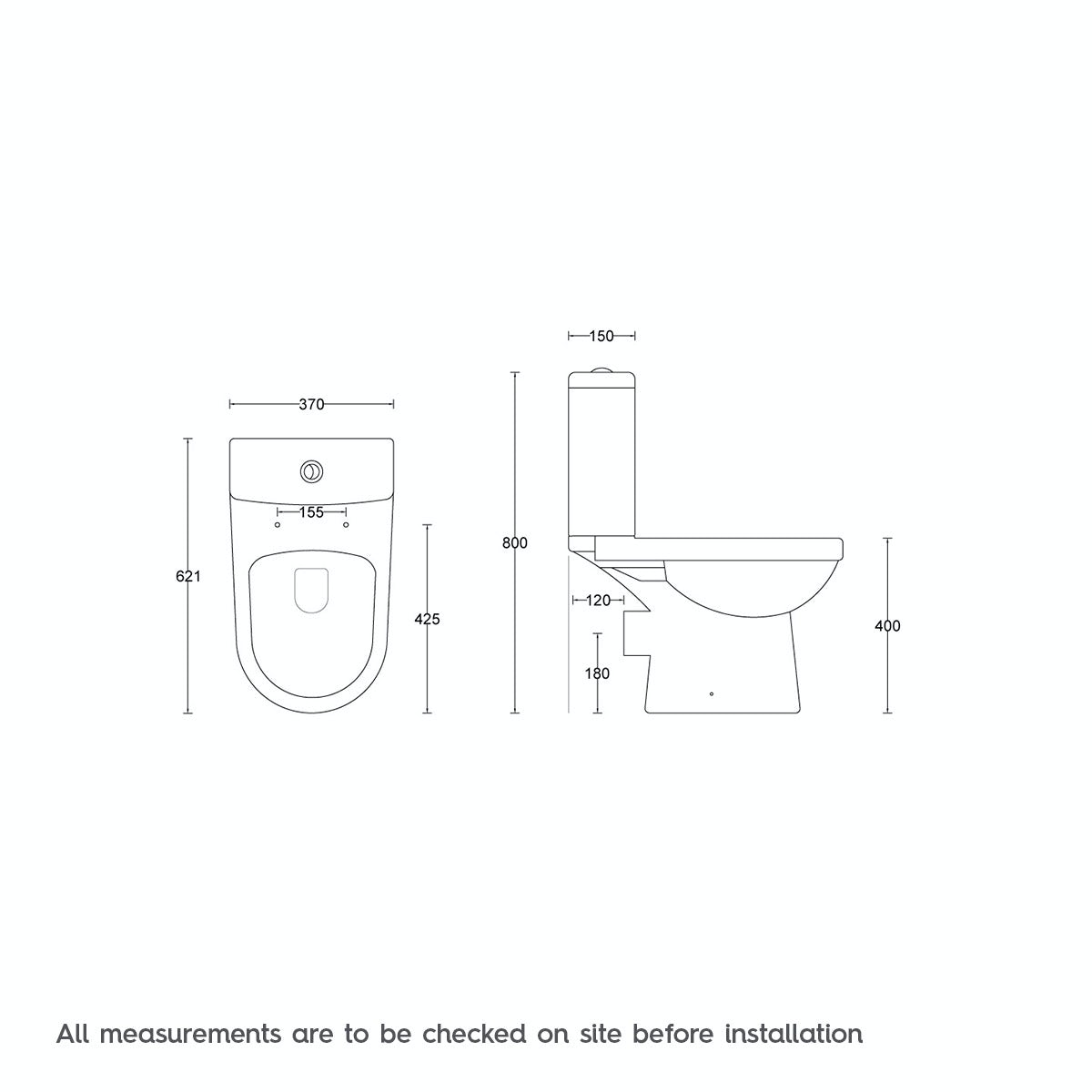 Dimensions for Orchard Eden close coupled toilet with luxury soft close seat