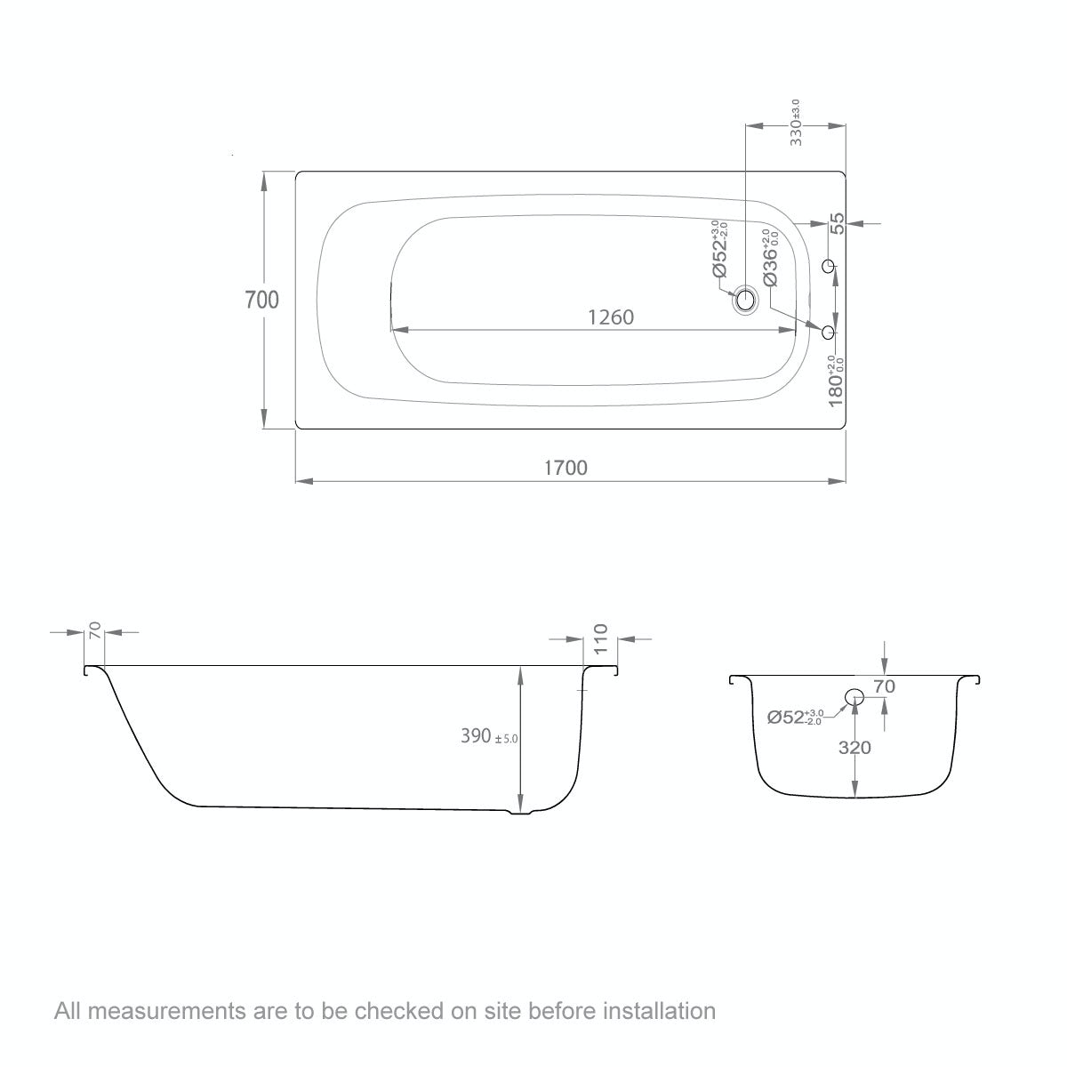 Dimensions for Clarity Steel bath with handle grips 1700 x 700