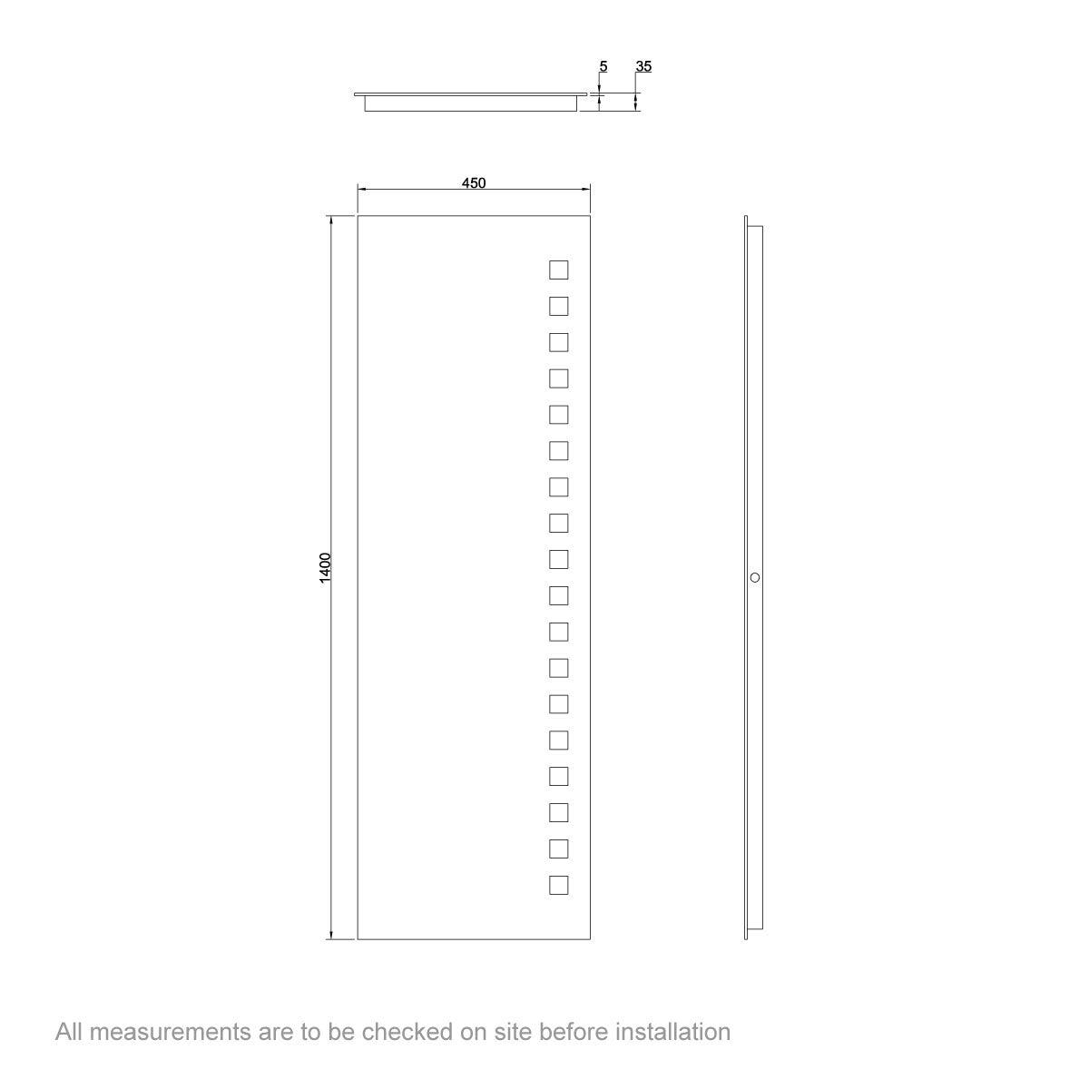 Dimensions for Mode Radiant Full length rectangular LED mirror