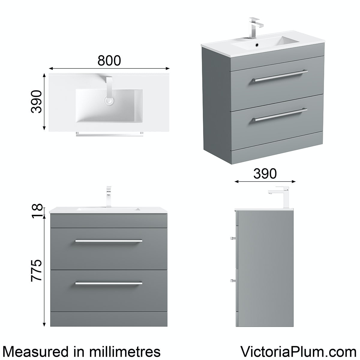 Dimensions for Orchard Derwent grey vanity drawer unit and basin 800mm