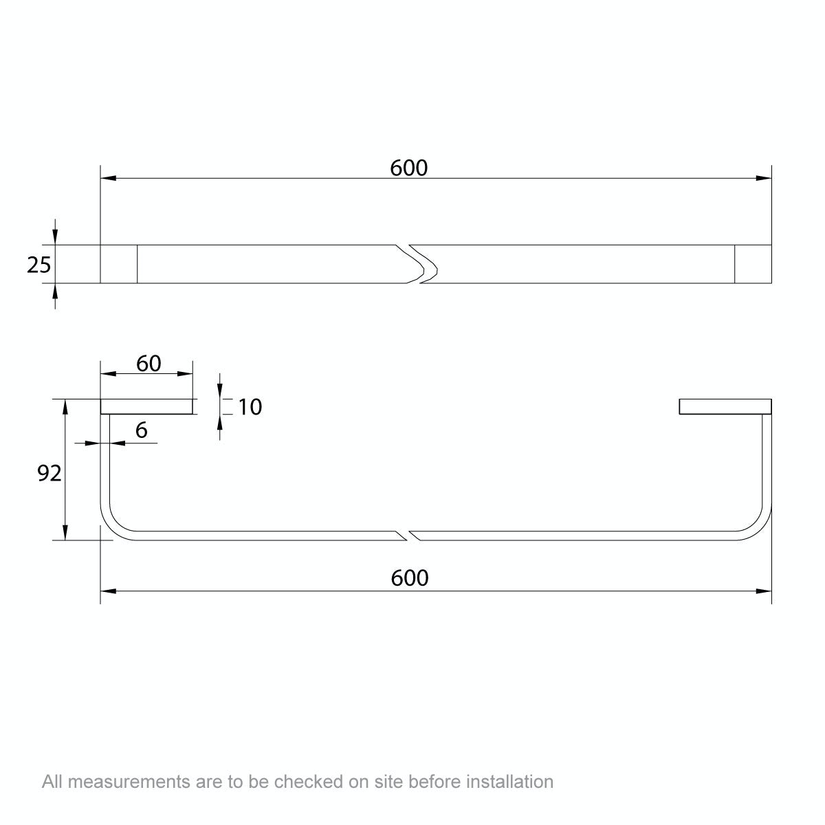 Dimensions for Mode Spencer gold square single towel rail 600mm