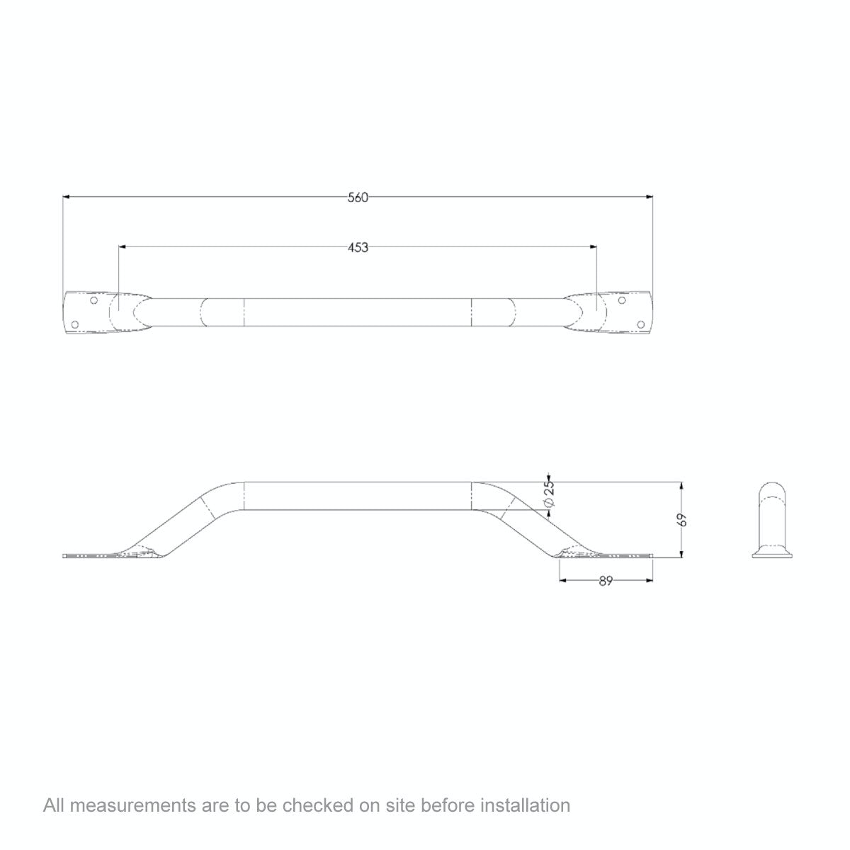 Dimensions for AKW Flat ended stainless steel grab rail white 445mm