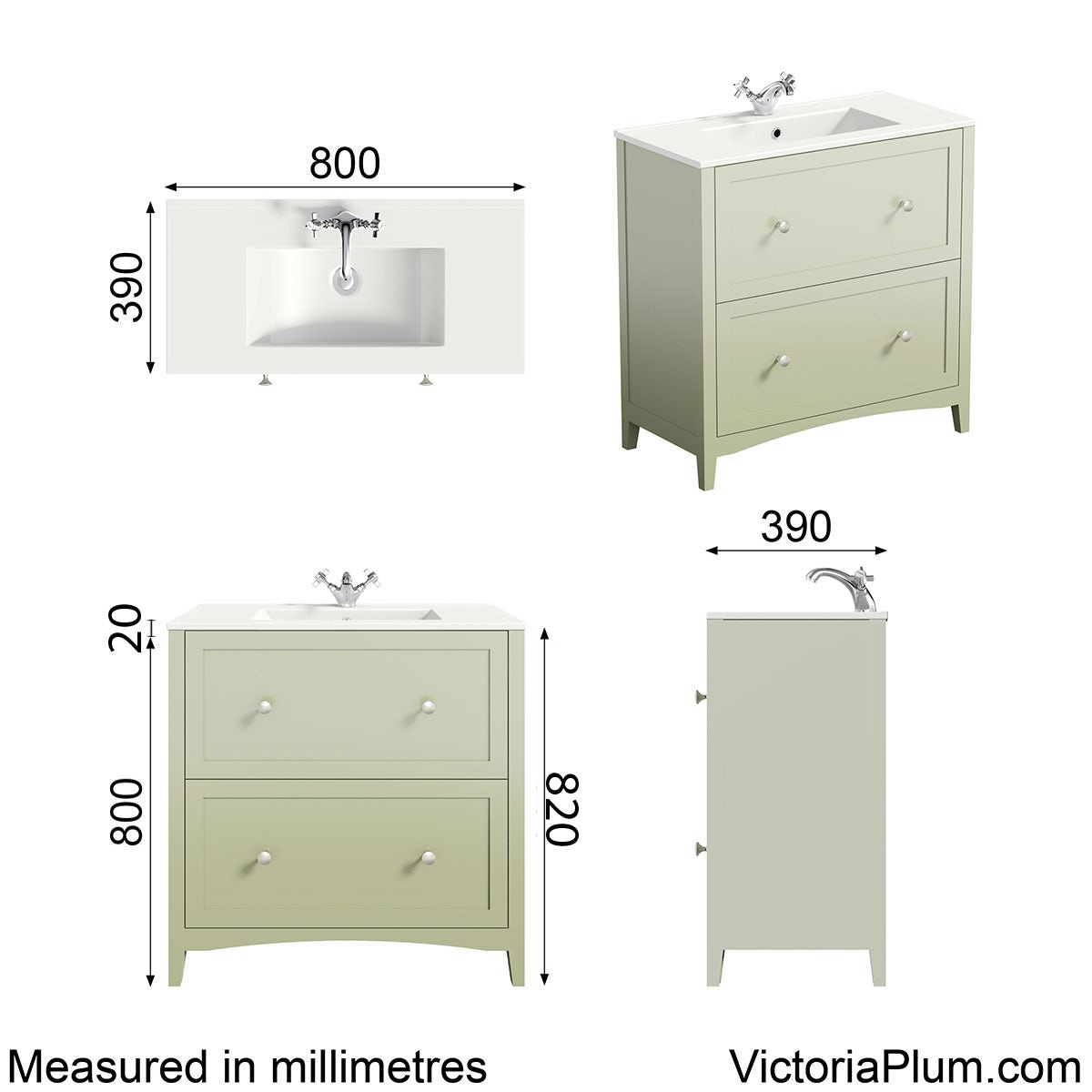 Dimensions for The Bath Co. Camberley sage vanity unit basin 800mm