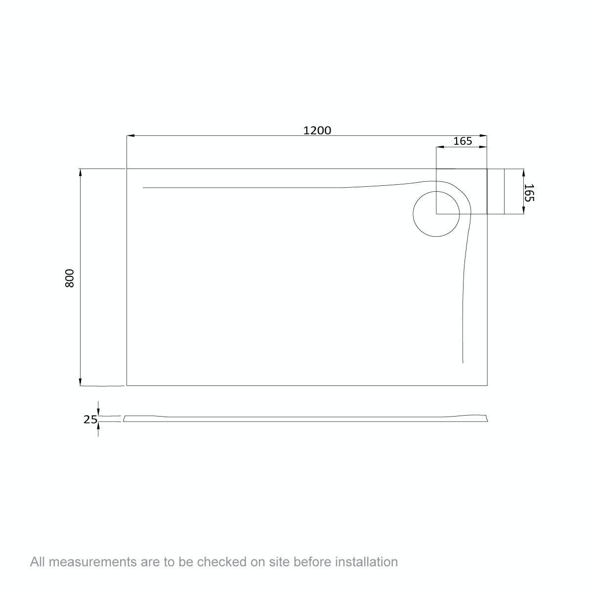 Dimensions for Mode black granite effect left handed rectangular stone shower tray 1200 x 800
