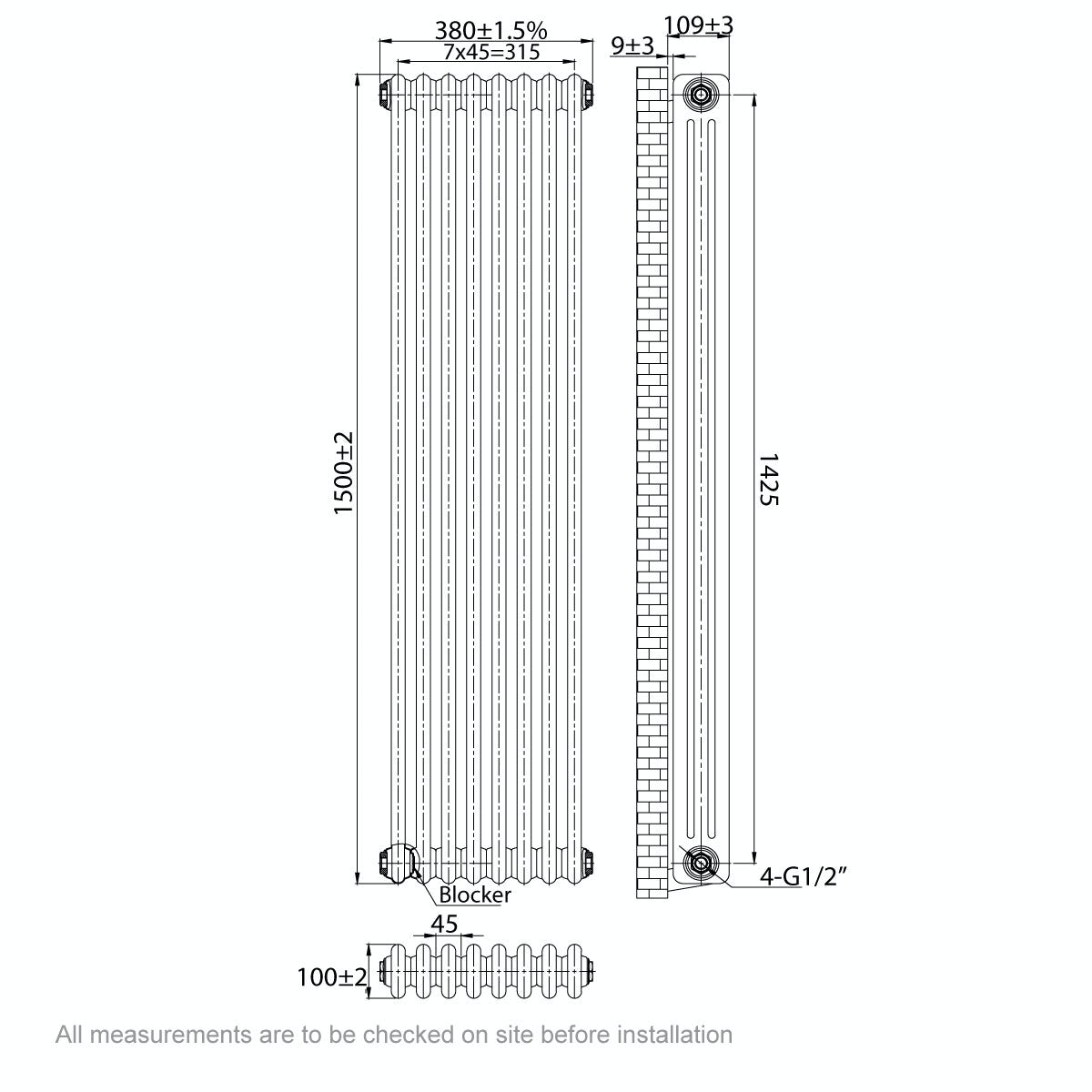 Dimensions for The Bath Co. Dulwich vertical white triple column radiator 1500 x 380