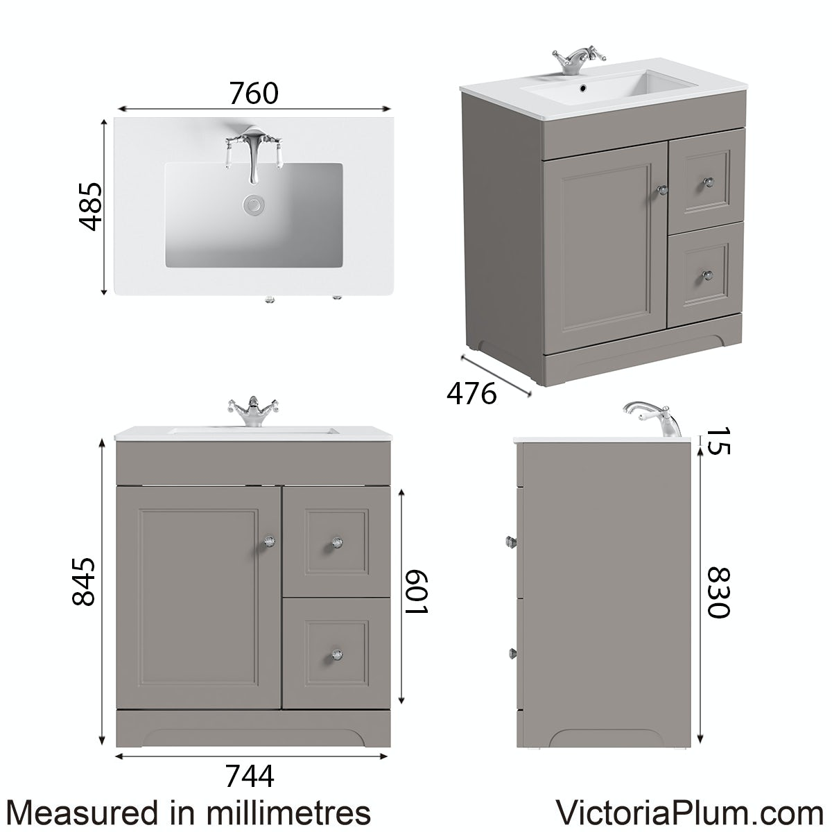 Dimensions for The Bath Co.Winchester graphite vanity unit and basin 800mm