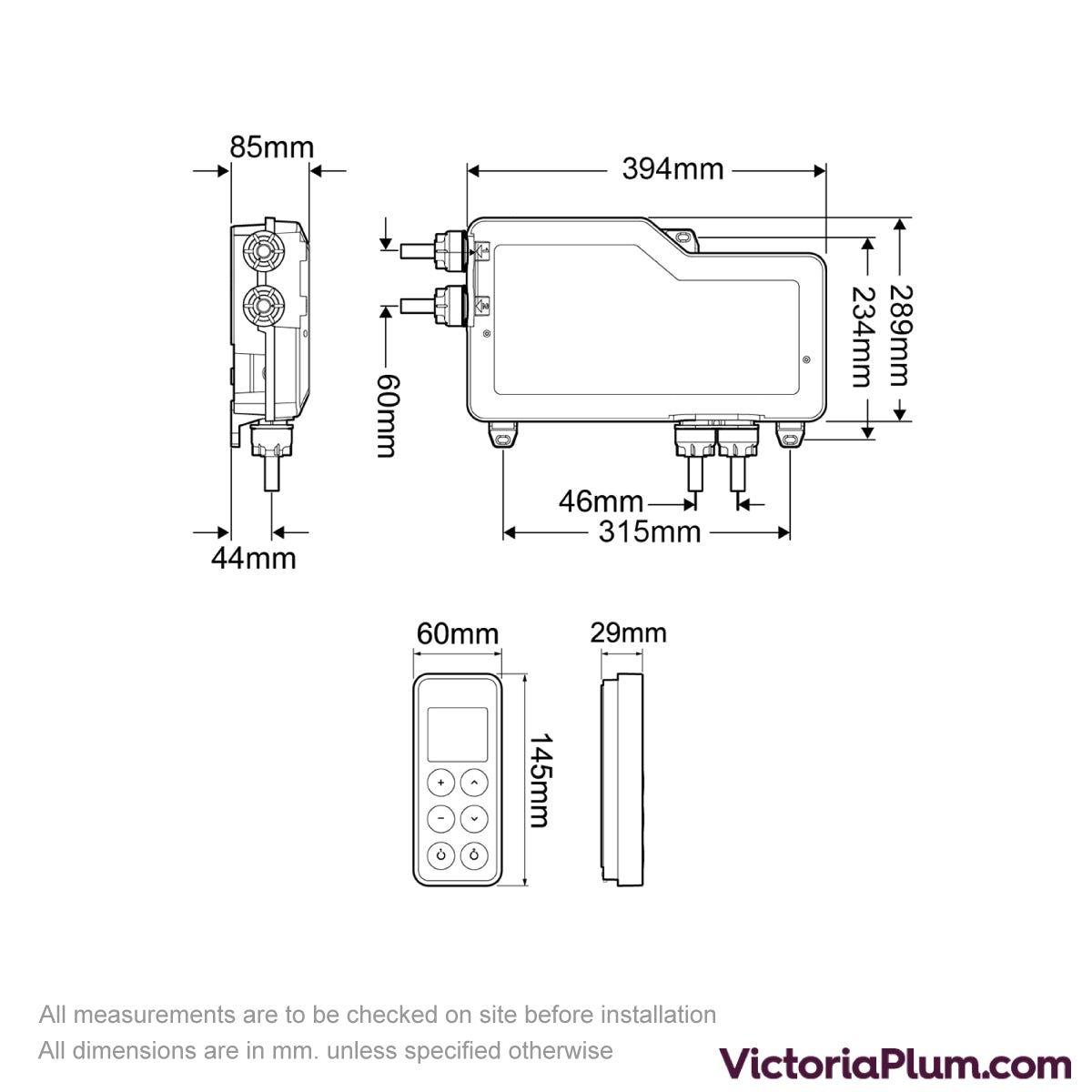 Dimensions for Mira Vision dual digital shower valve pumped