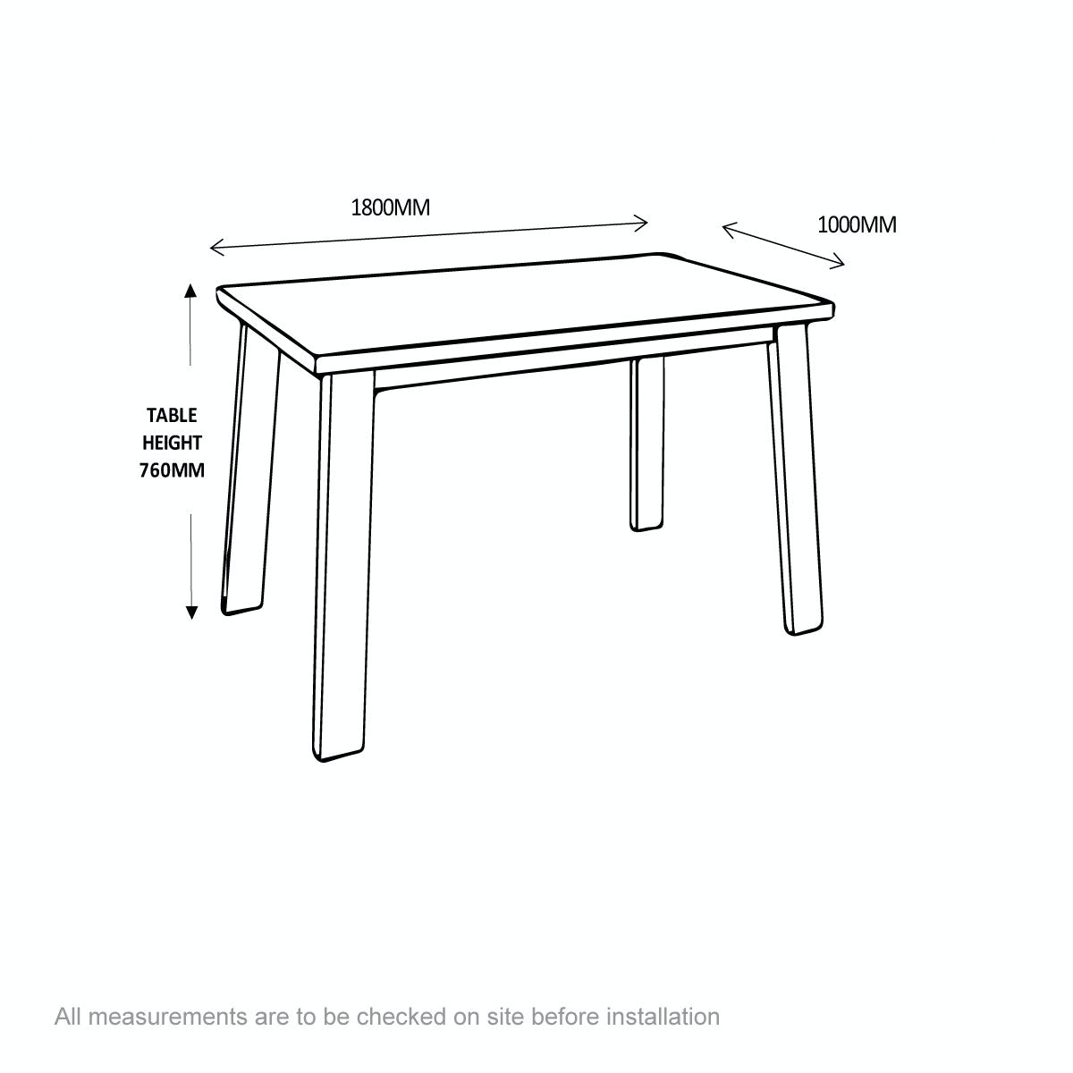 Dimensions for Lincoln oak chunky dining table