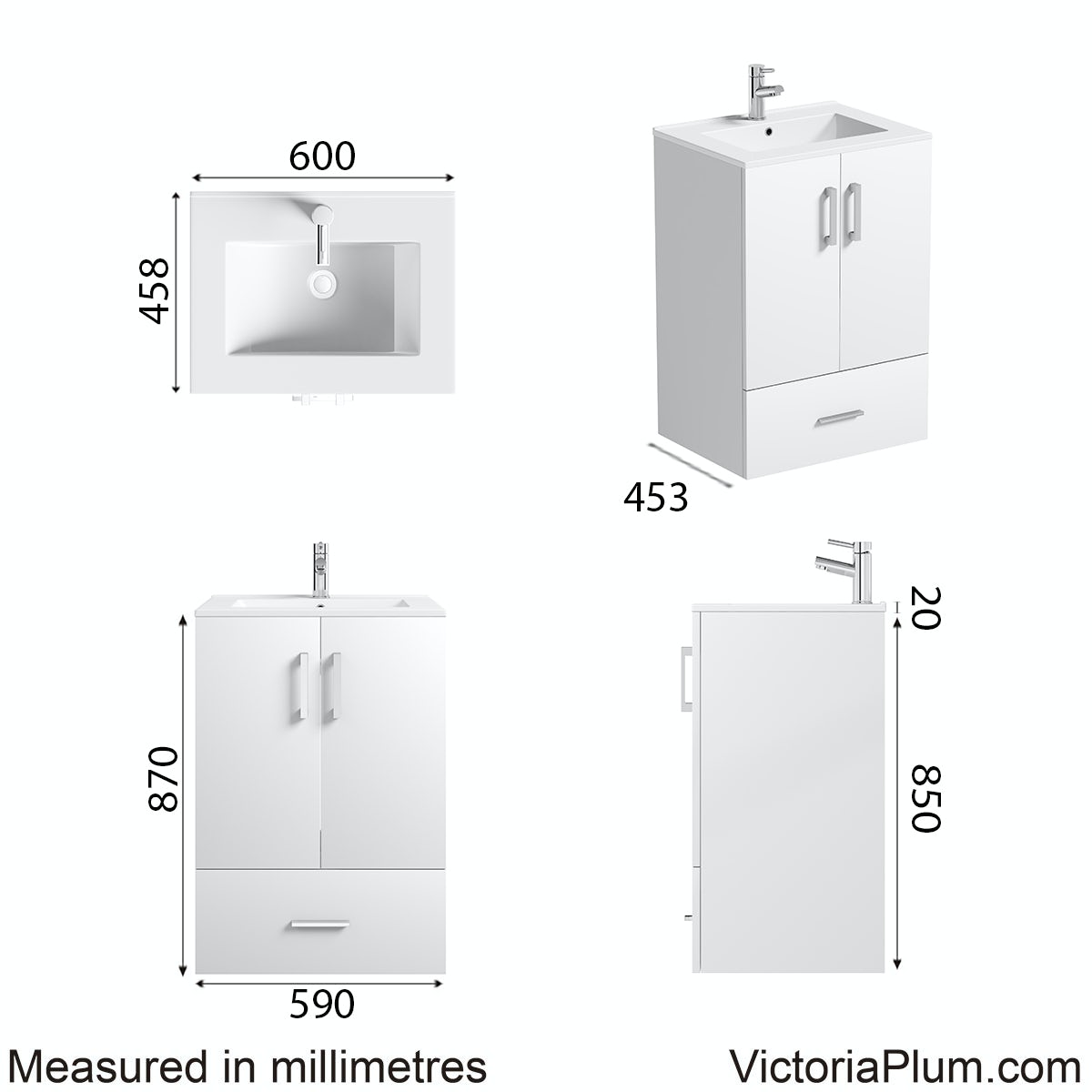 Dimensions for Orchard White family vanity unit and basin