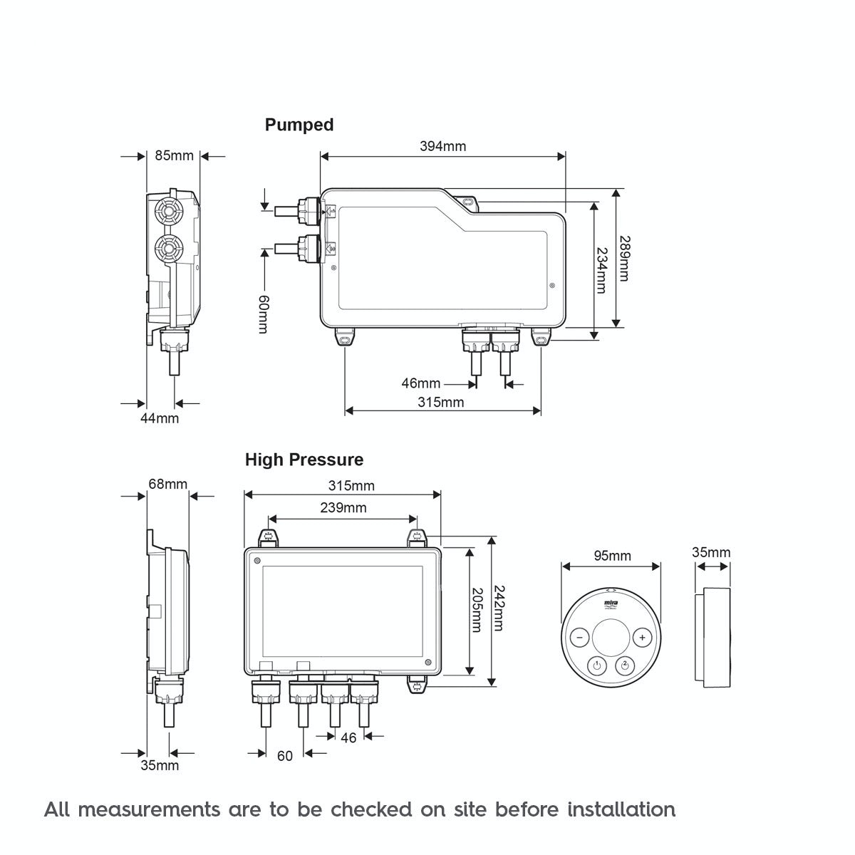 Dimensions for Mira Platinum dual digital shower valve and controller pumped