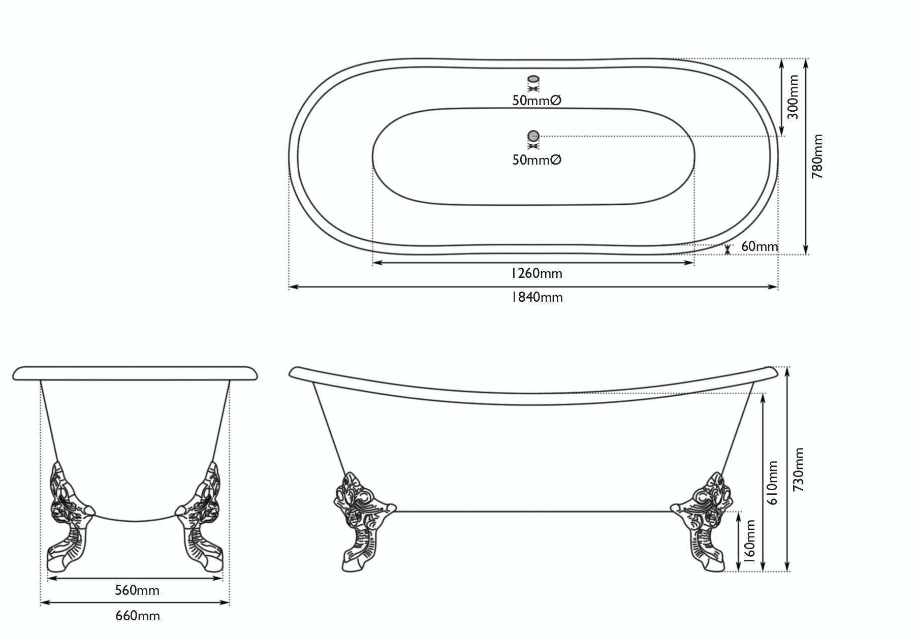 Dimensions for The Bath Co. Dover misted green cast iron bath