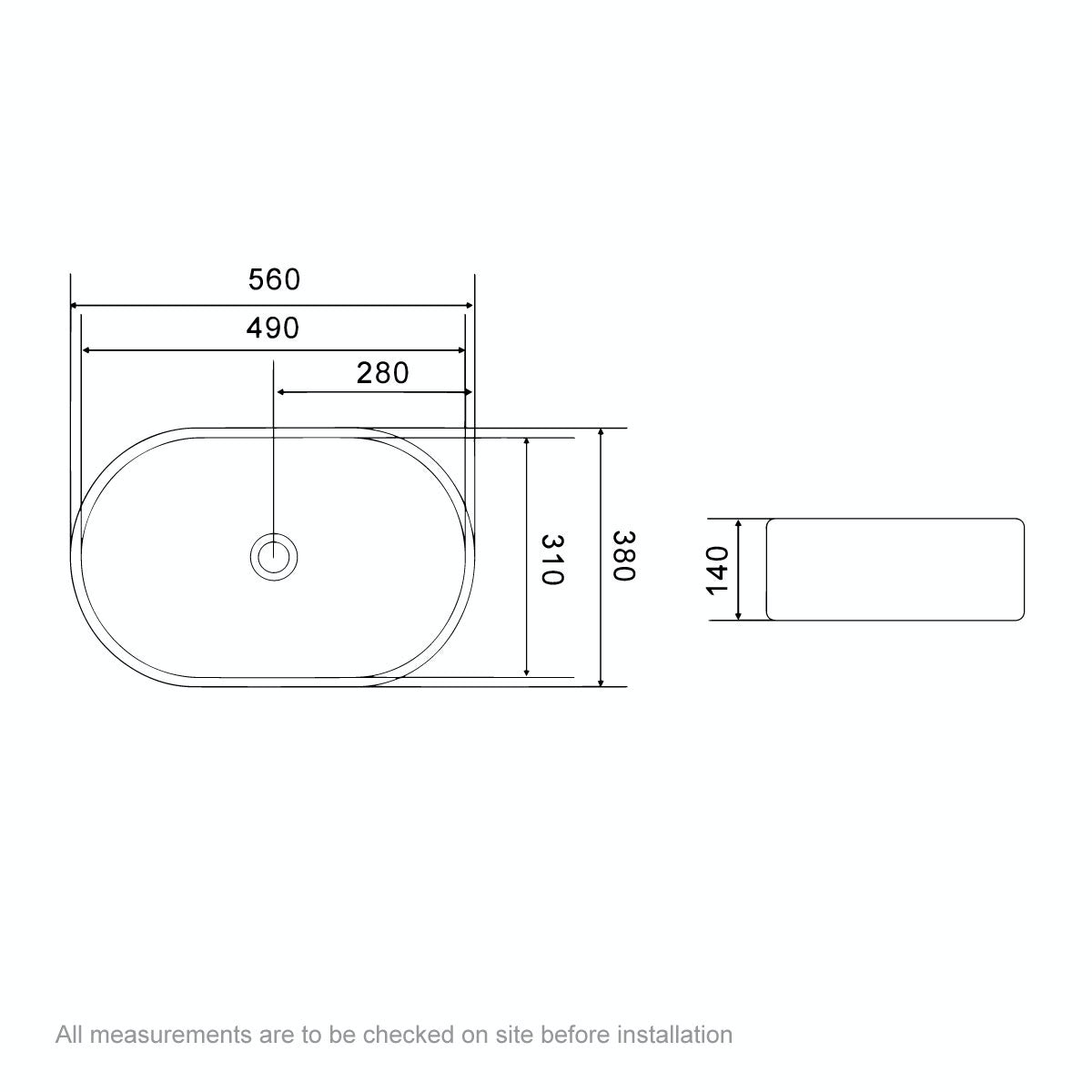 Dimensions for Ontario counter top basin