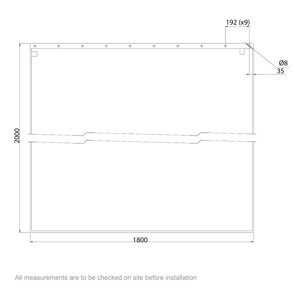 Dimensions for AKW Shower curtain 1800 x 2000